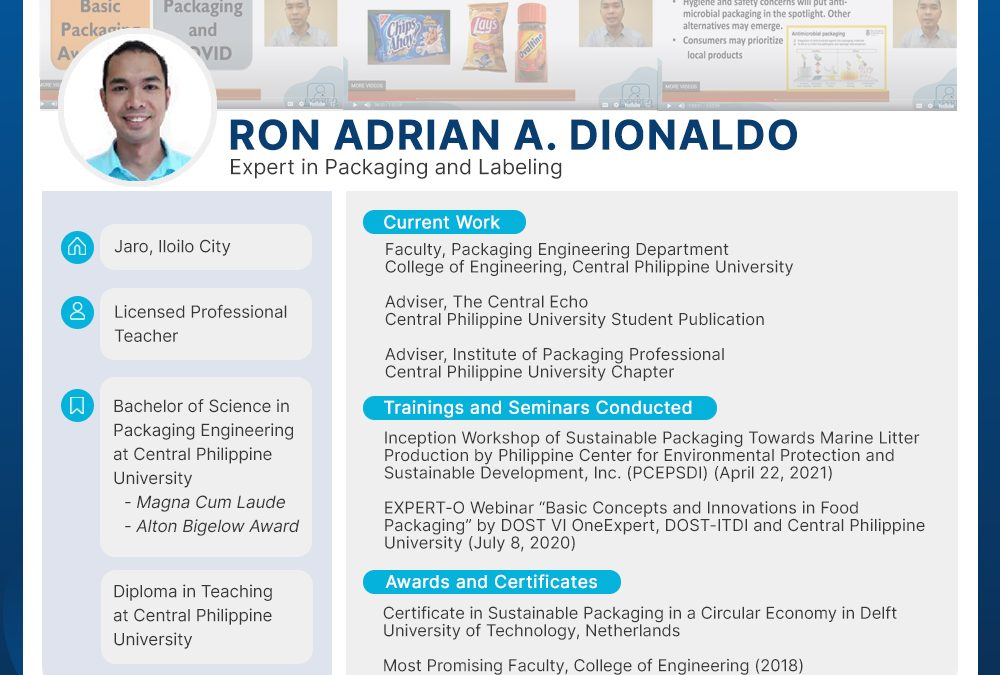 Expert on Packaging and Labeling: Mr. Ron Adrian Dionaldo